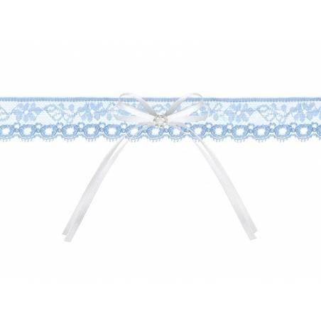 Jarretière en dentelle avec un ruban bleu ciel