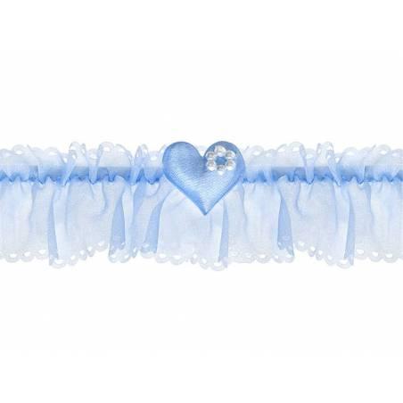 Jarretière en mousseline avec un coeur bleu ciel
