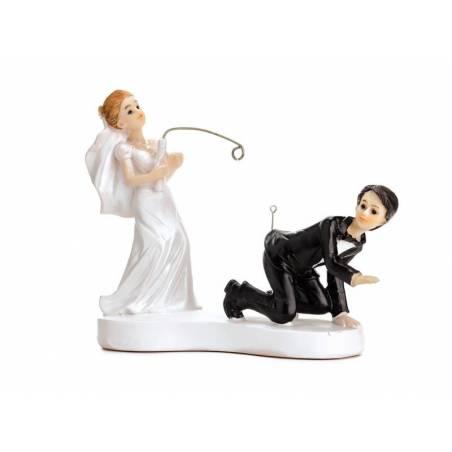 Cake Topper Jeunes mariés avec une canne à pêche 13cm
