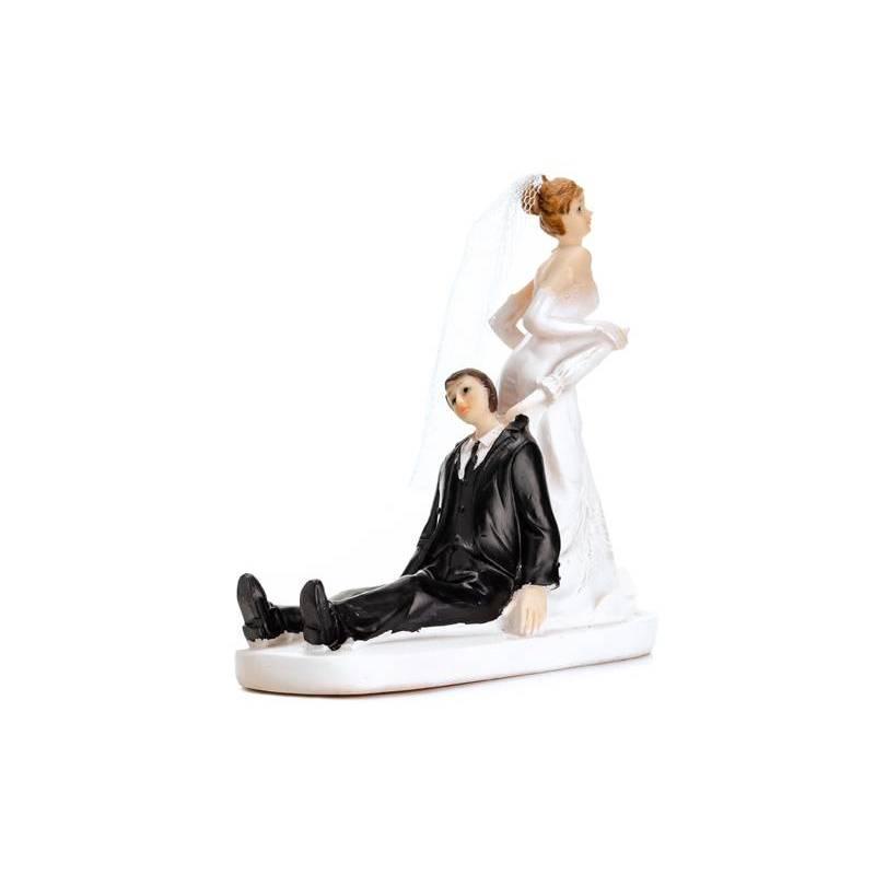 Cake Topper Jeunes mariés avec un parapluie 13cm