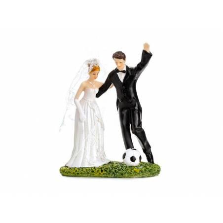 Cake Topper Jeunes mariés avec un ballon de foot 14cm