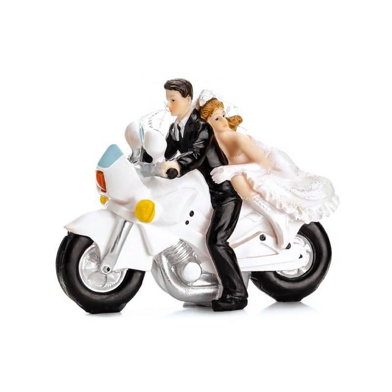 Cake Topper Nouveaux mariés sur une moto 11.5cm