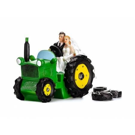 Cake Topper Jeunes mariés dans un tracteur 11cm