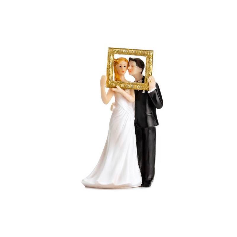 Cake Topper Les nouveaux mariés dans un cadre photo en or 14.5cm