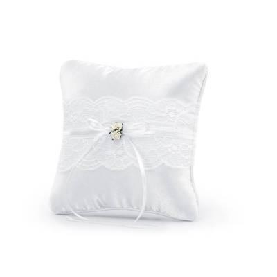 Coussin porte-anneaux blanc 16 x 16 cm