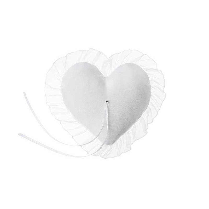 Coussin porte-coeur blanc 13x13cm