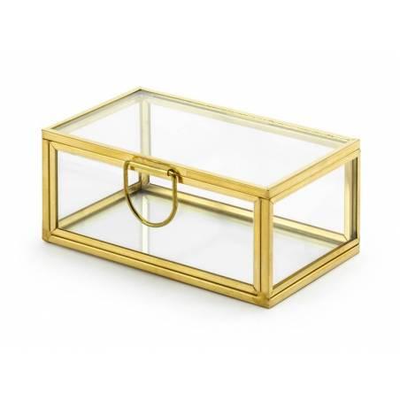Boîte à bagues en verre or 9x55x4cm