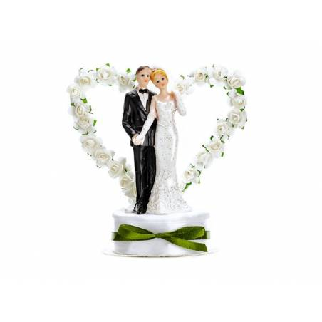 Cake Topper Jeunes mariés blanc 16cm