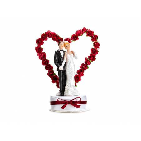 Cake Topper Jeunes mariés blanc et rouge foncé 16cm