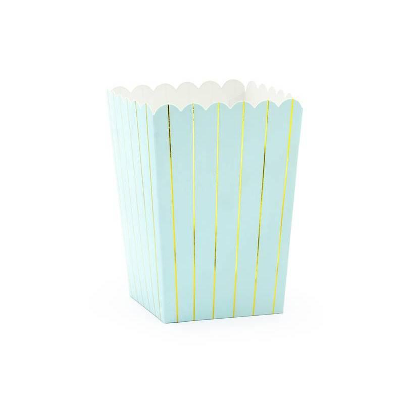 Boîtes pour bandes de pop-corn bleu clair 7x7x12.5cm
