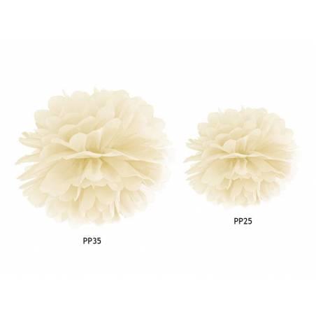 Papier de soie Pompon crème 25cm