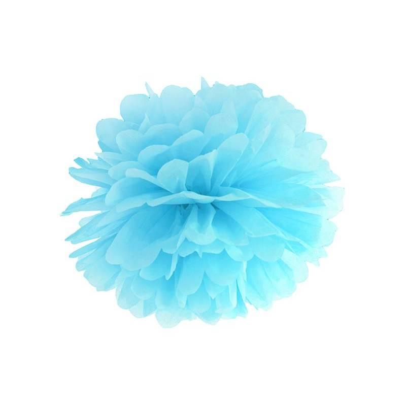 Papier de soie Pompon bleu ciel 35cm