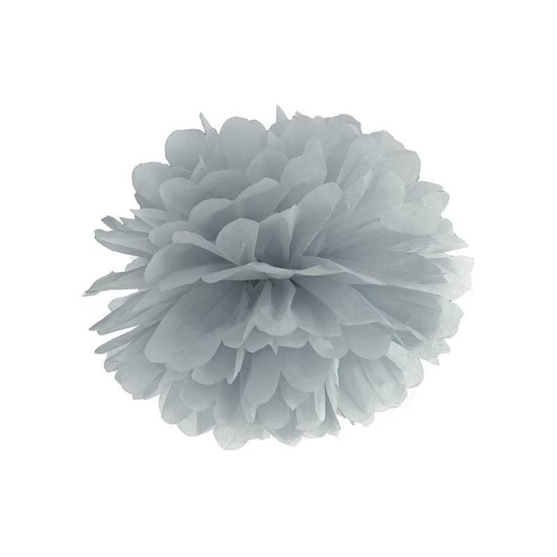 Pompon en papier de soie gris 35cm