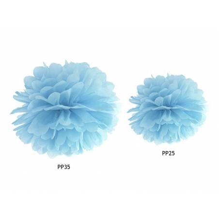 Papier de soie Pompon bleu clair 35cm