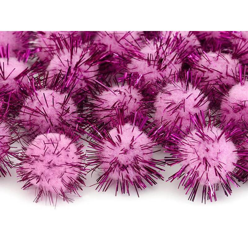 Pompons mousseux rose