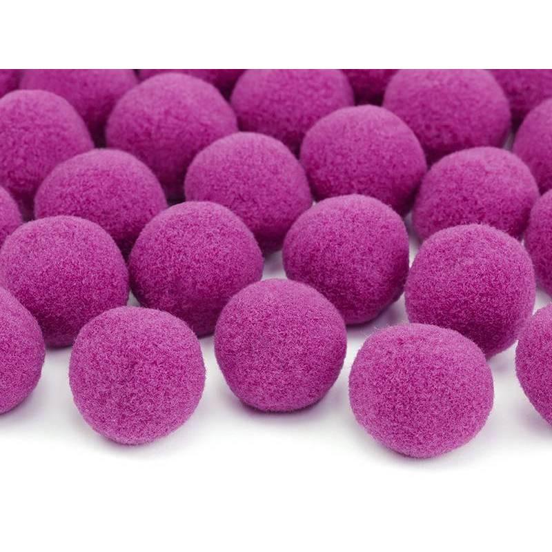 Pompons en peluche rose foncé