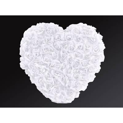 Coeur pleine fleur blanc 50cm