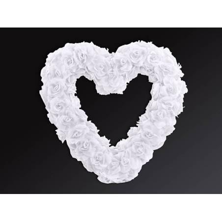 Coeur de fleur vide blanc 50cm