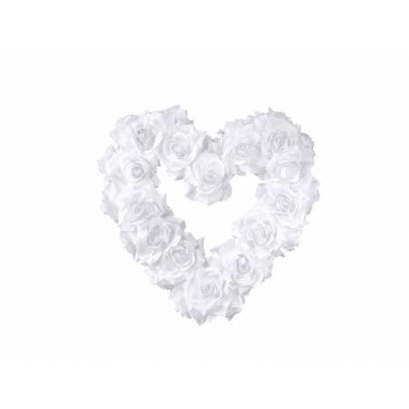 Coeur de fleur vide blanc 40cm