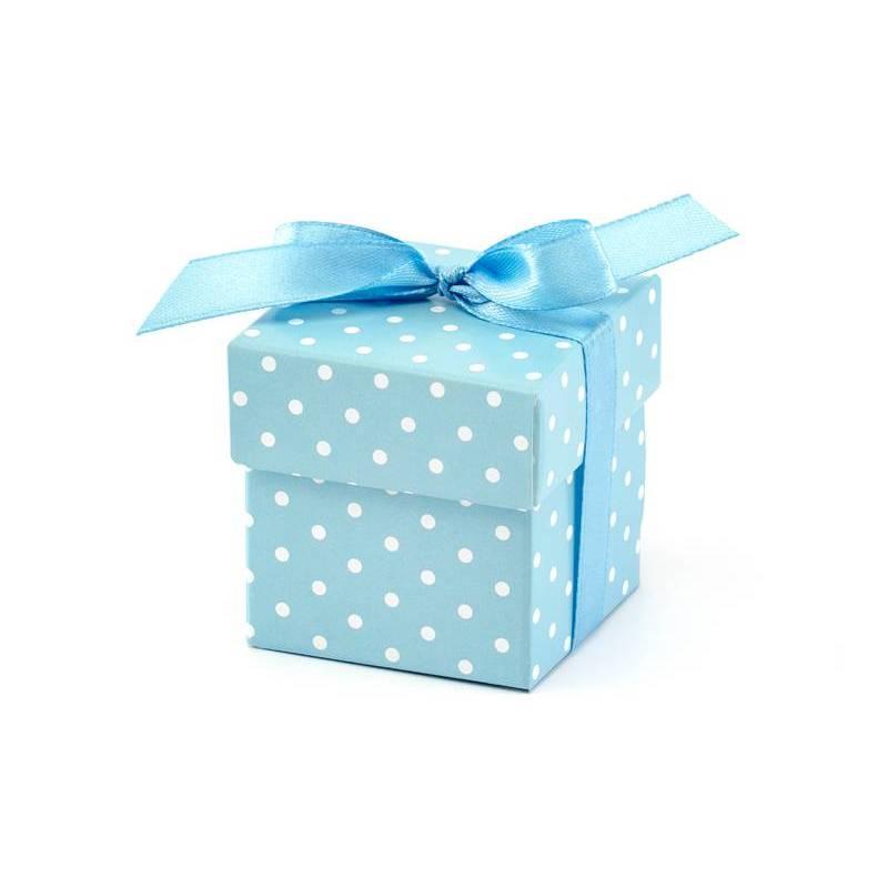 Boîtes à pois bleu ciel