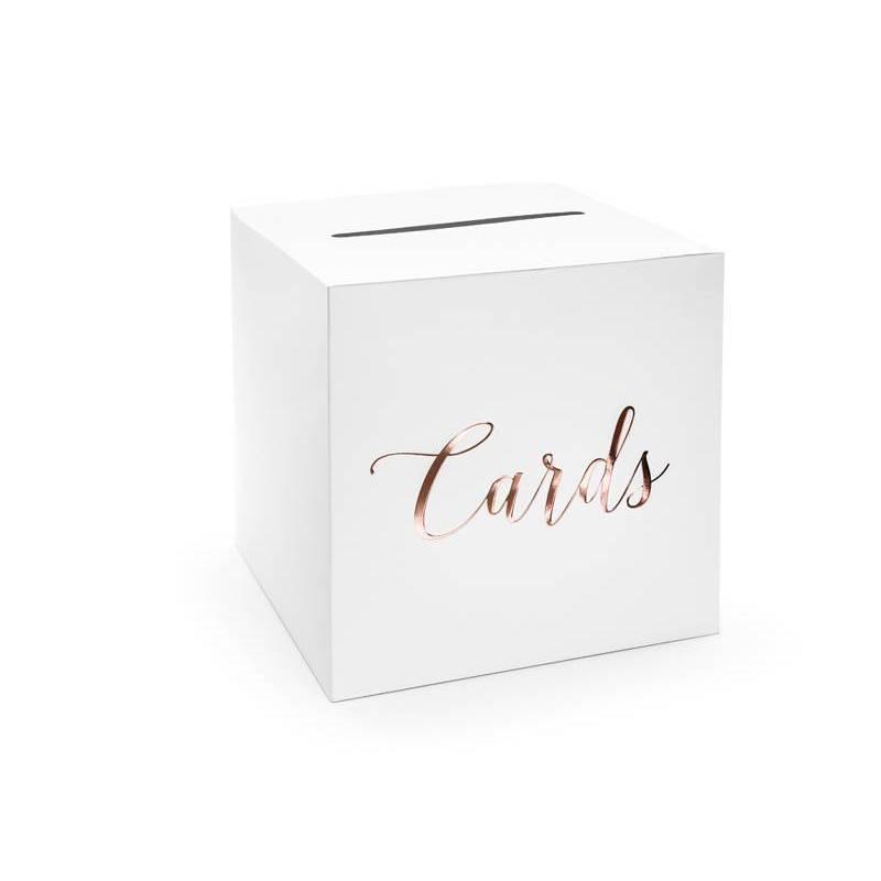 Boîte à cartes de mariage - Cartes or rose 24x24x24cm