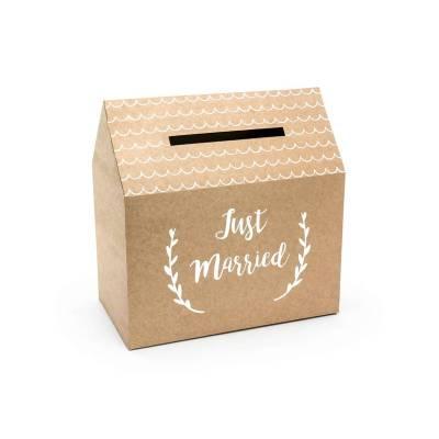 Boîte à cartes de mariage - Just Married kraft 30x30.5x16.5cm