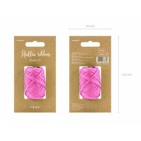 Ruban en raphia 5mm / 10m rose foncé