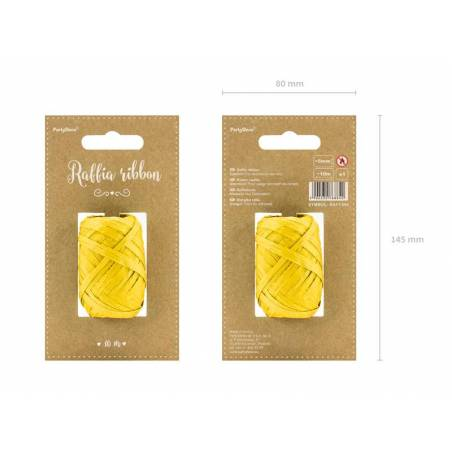 Ruban en raphia 5mm / 10m jaune