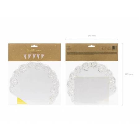 Cônes de confettis blancs 20 cm