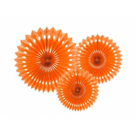 Eventail en tissu orange 20-30cm