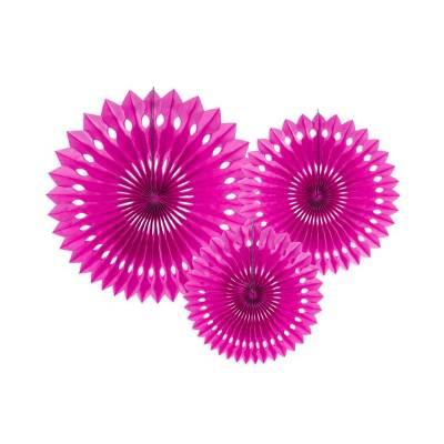 Eventail en tissu rose foncé 20-30cm