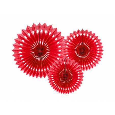 Eventail en tissu rouge 20-30cm