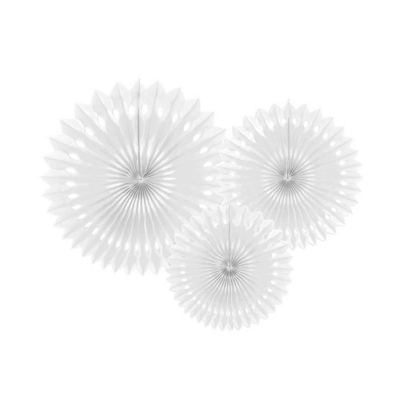 Eventail en tissu blanc 20-30cm