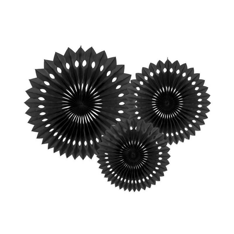 Eventail en tissu noir 20-30cm