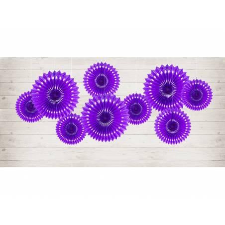 Eventail en tissu violet 20-30cm