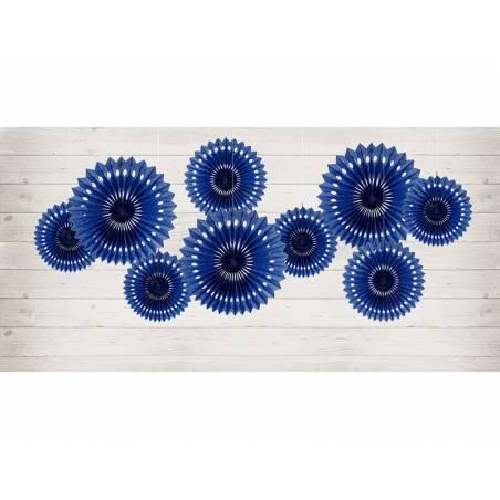 Eventail en tissu bleu marine 20-30cm