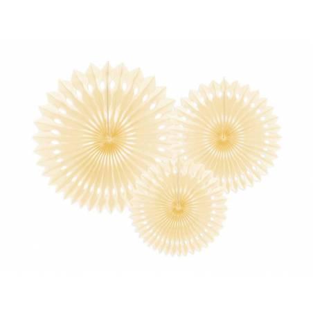 Eventail en tissu crème légère 20-30cm