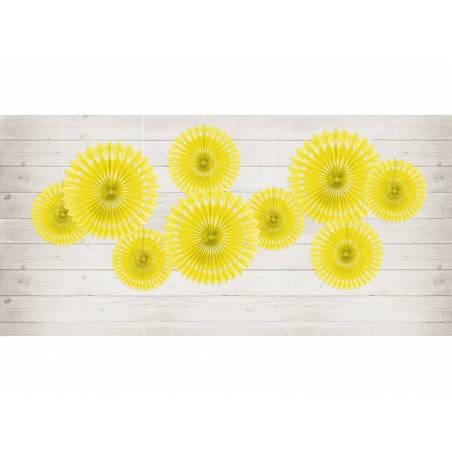Eventail en tissu jaune 20-30cm