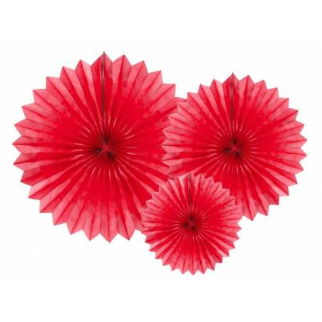 Eventail en tissu rouge 20-40cm