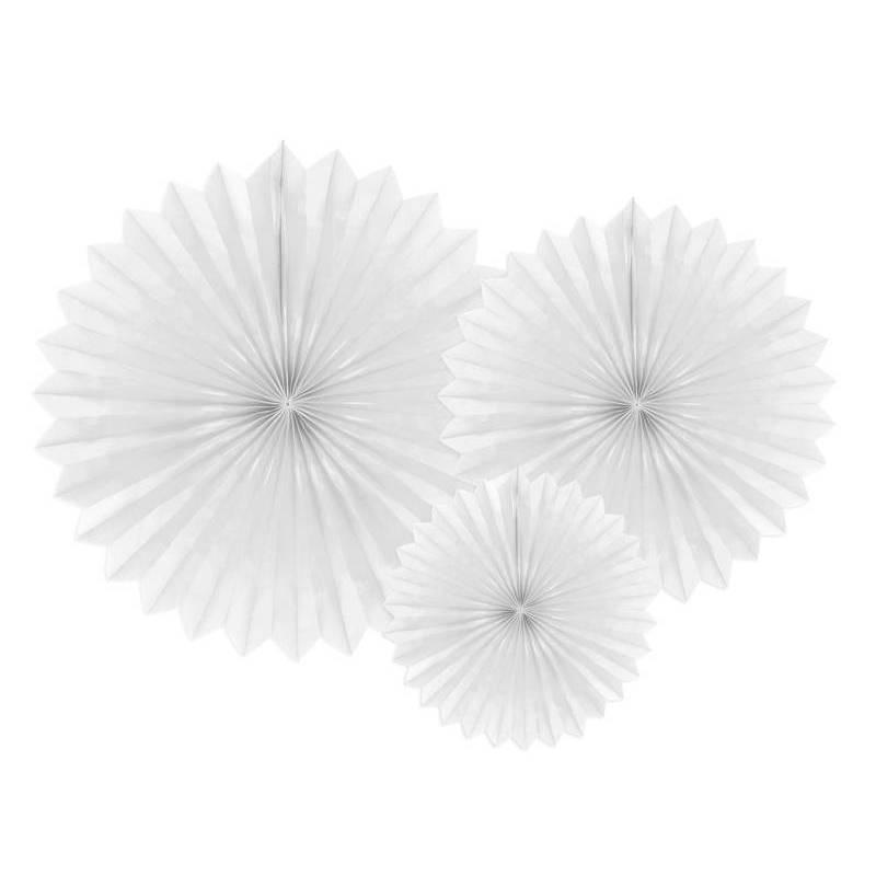 Eventail en tissu blanc 20-40cm