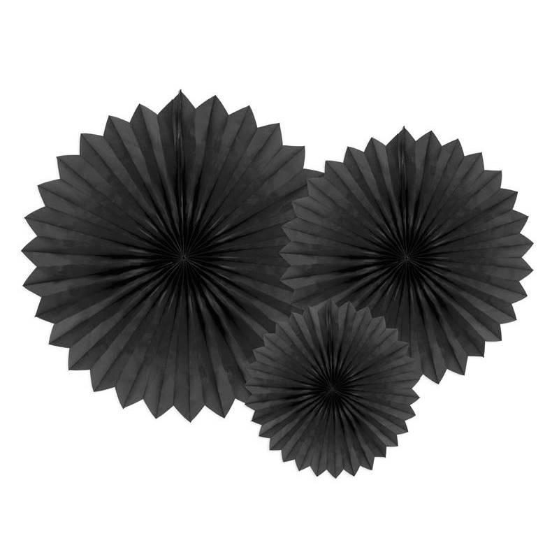 Eventail en tissu noir 20-40cm