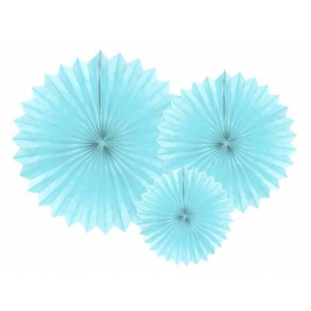 Eventail en tissu bleu ciel clair 20-40cm