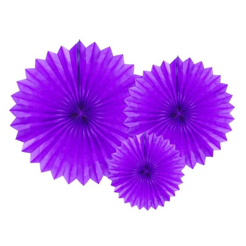 Eventail en tissu violet 20-40cm