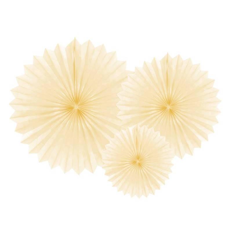 Eventail en tissu crème légère 20-40cm