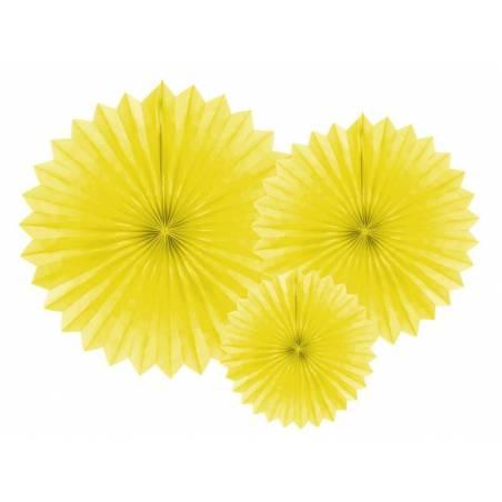 Eventail en tissu jaune 20-40cm