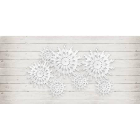 Rosettes décoratives Flocon de neige blanc 25cm