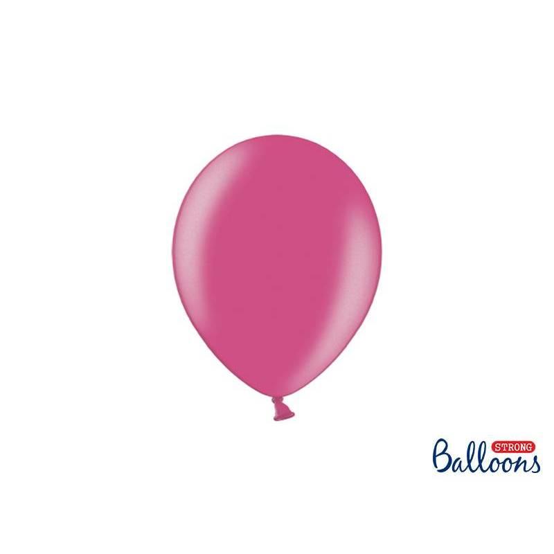 Ballons forts 23cm rose chaud métallique