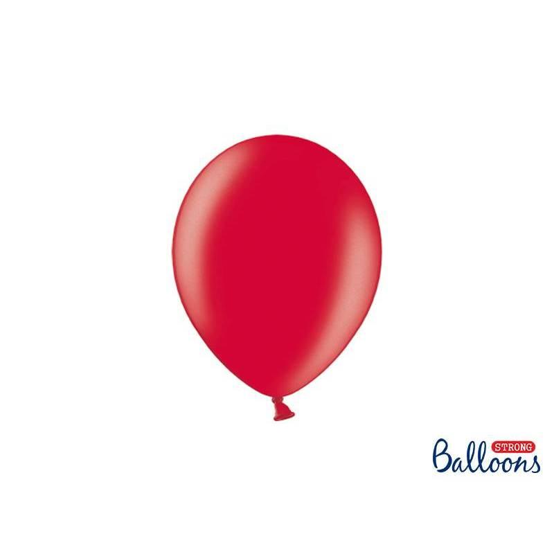 Ballons forts 23cm rouge pavot métallique