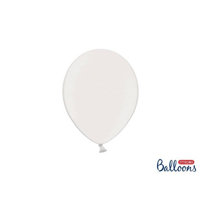 Ballons forts 23cm blanc pur métallique