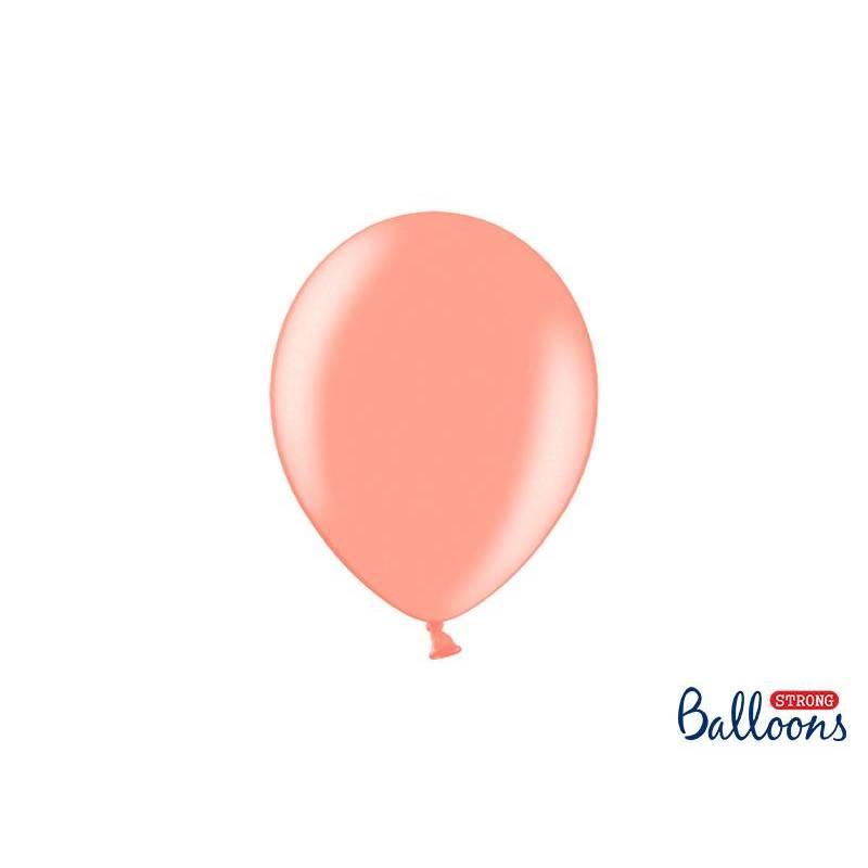 Ballons forts 23cm or rose métallique